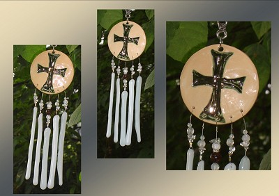 Templar Cross, Silver Ceramic Windchimes, Fused Glass Art, Garden Decor, Stained Glass Window Suncatcher, Hanging Mobile Pottery