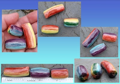 3 Rainbow Pendants Ceramic Chakra Beads Clay LGBT Gay Pride Amulets DIY Supplies