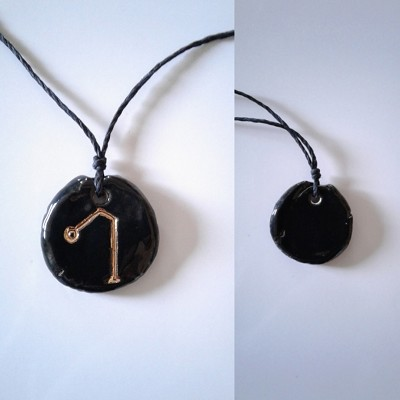 Archangel Raphael Necklace Black Gold Lustre Angel Sigil Ceramic Pendant Diven Protection