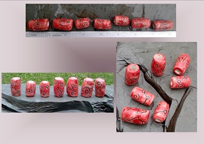 7 Red Dreadlock Beads Dread Hair Accessories Macrame Ceramic Pottery Supplies