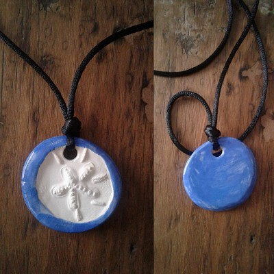 Sand Dollar Necklace Blue Aromatherapy Clay Pendant Essential Oil Diffuser Disc