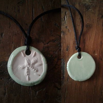 Sand Dollar Necklace Blue Aromatherapy Clay Pendant Essential Oil Diffuser Disc Ceramic Boho Beach Surfer
