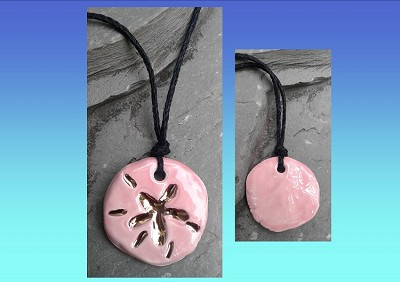 Sand Dollar Necklace Genuine Gold Lustre & Pink Ceramic Pendant Sea Surfer Boho Jewelry