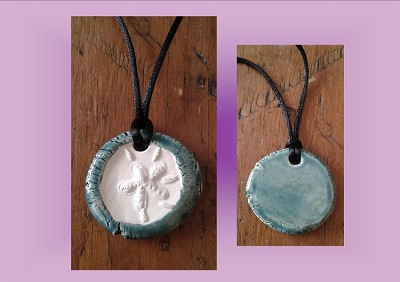 Sand Dollar Necklace Teal Blue Aromatherapy Clay Pendant Essential Oil Diffuser Disc Ceramic Boho Beach Surfer