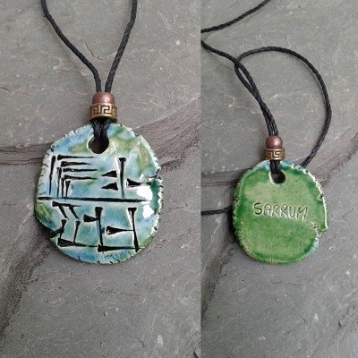 Cuneiform KING Necklace Sumerian Pendant Turquosie Green Ceramic SARRUM Amulet