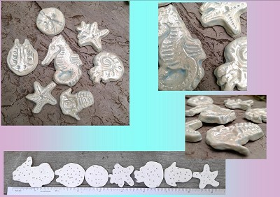 7 Sea Creatures Cabochons Fine Porcelain Pale Turquoise Mother of Pearl Seahorse Starfish Sand Dollar Nautilus Trilobite Ceramic Mosaics