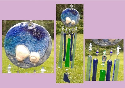 Sea Glass Wind Chime Ocean Wave Cobalt Blue Turquoise Ceramic Sun Catcher Seashell Fused Glass Crystal Sea Surf Beach Decor