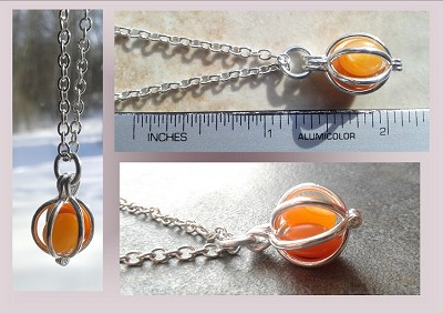 Silver Orange Sea Glass Locket necklace Boho Beach Pendant