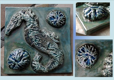 Seahorse Ceramic Decorative Ocean Sea Turquoise Sea Green Wall Decor Beach Sea Creatures Mosaic
