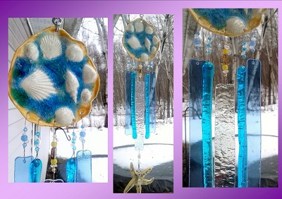 Seashell Wind Chime Glass & Ceramic Mobile Starfish Turquoise Blue Gold Beach Decor