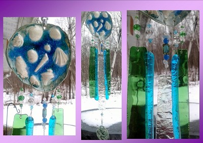 Seashell Wind Chime Glass & Ceramic Mobile Celtic Spiral Teal Blue Beach Decor