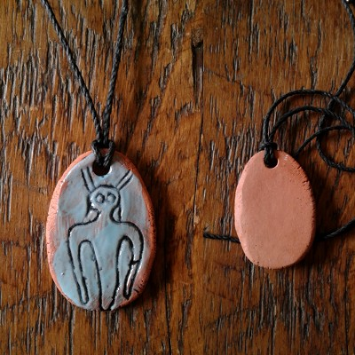 Alien Necklace Sego Canyon Pendant Turquoise Terra Cotta Petroglyph