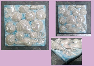 Seashell Porcelain Decorative Tile Turquoise Ocean Beach Wall Decor Mother of Pearl Shells .2