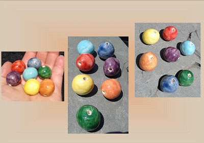 Small Rainbow Beads, LGBT Ceramic Beads, Large Round Pottery Beads, Chakra Stone Beads, Multicolor Beading Supplies, Hand Painted Beads