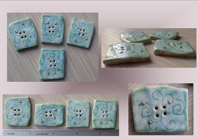 4 Square Sea Turquoise Porcelain Buttons with Fine Silver Sewing Accessories