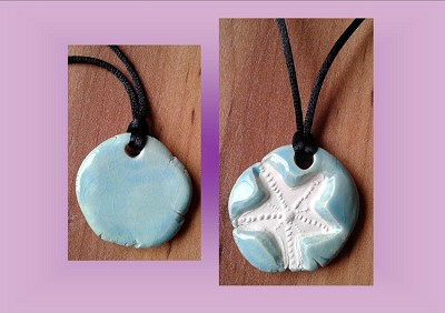 Starfish Necklace Turquoise Aromatherapy Clay Pendant Essential Oil Diffuser Disc Ceramic Boho