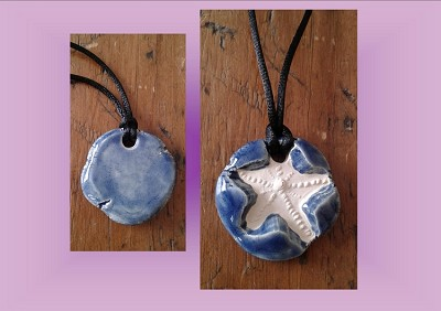 Starfish Necklace Blue Aromatherapy Clay Pendant Essential Oil Diffuser Disc Ceramic Boho