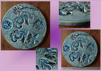 Seahorse Starfish Ceramic Tile Decorative Ocean Sea Turquoise Wall Decor Beach Sea Creatures