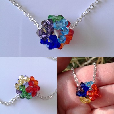 Rainbow Crystal Ball Pendant Chakra Necklace LGBT Gay Pride Jewelry