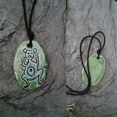 Taino Frog Necklace Turquoise Green Ceramic Pendant Petroglyph Native Art of the Caribbean