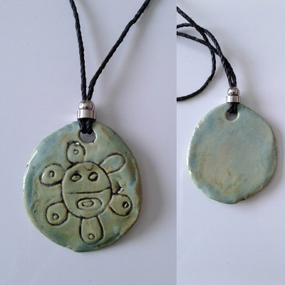 Taino Solar Necklace Ceramic Sea Green Petroglyph Caribbean Solar Disc Symbol