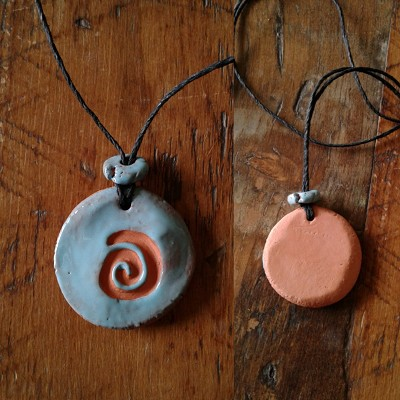 Terra Cotta Spiral Aromatherapy Necklace Turquoise Essential Oil Diffuser Clay Pendant