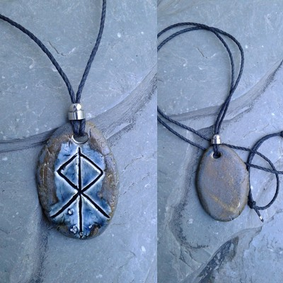 Thor Necklace Blue Bronze Norse Runestone Pendant Ceramic Viking Amulet
