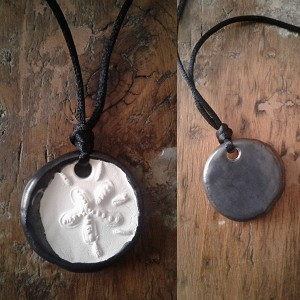 Sand Dollar Necklace Pewter Aromatherapy Clay Pendant Essential Oil Diffuser Disc