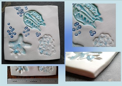 Starfish Porcelain Decorative Tile Turquoise Ocean Beach Wall Decor Trilobite Sponge Mosaic Art Fine Porcelain