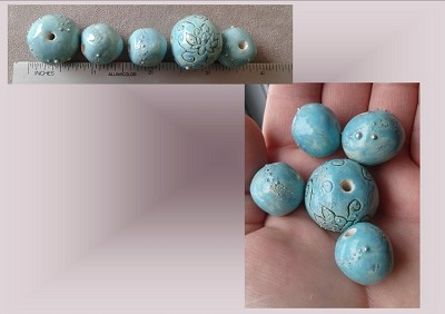 Set 5 Chunky Lotus Ceramic Beads Turquoise Pottery Beading Supplies Fine Silver Large Macrame Beads Handmade
