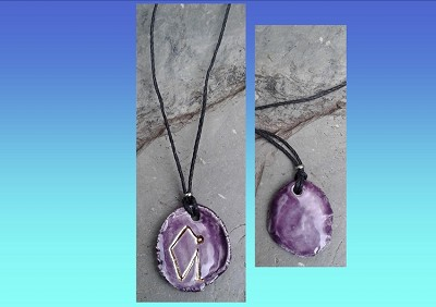 Archangel Uriel Necklace Purple Gold Lustre Angel Sigil Ceramic Pendant Diven Protection