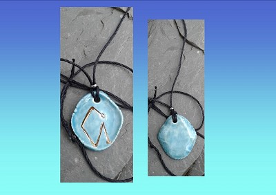 Archangel Uriel Necklace Turquoise Gold Lustre Angel Sigil Ceramic Pendant Diven Protection