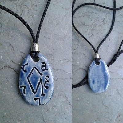 Archangel Uriel Necklace Fine Porcelain Blue Angel Pendant Sigil Enochian Amulet Sacred Protection
