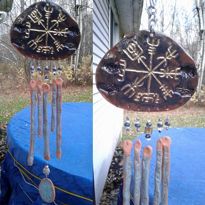 Gold Vegvisir Pottery Wind Chime Blue Terra Cotta Viking Decor Icelandic Runic Compass