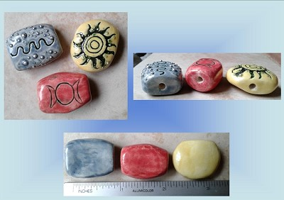 Set 3 Wiccan Pagan Ceramic Beads Sun Solar Moon Goddess Energy Blue Yellow Red Petroglyph Sacred Symbols