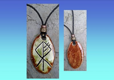 Wolf Rune Necklace Green Moss Ceramic Pendant Viking  Amulet