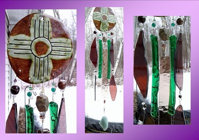 Zia Sun Glass Wind Chime Pottery Chimes Green Moss Hopi Sun Catcher New Mexico Art