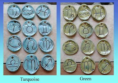 Set 12 Horoscope Pendants Sun Sign Ceramic Amulets Turquoise or Green Zodiac Astrology Discs for Jewelry Making