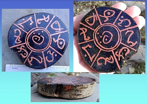 Mini Lemurian MU Copper Wood Painting Watercolor Collectible Light Language of Lemuria