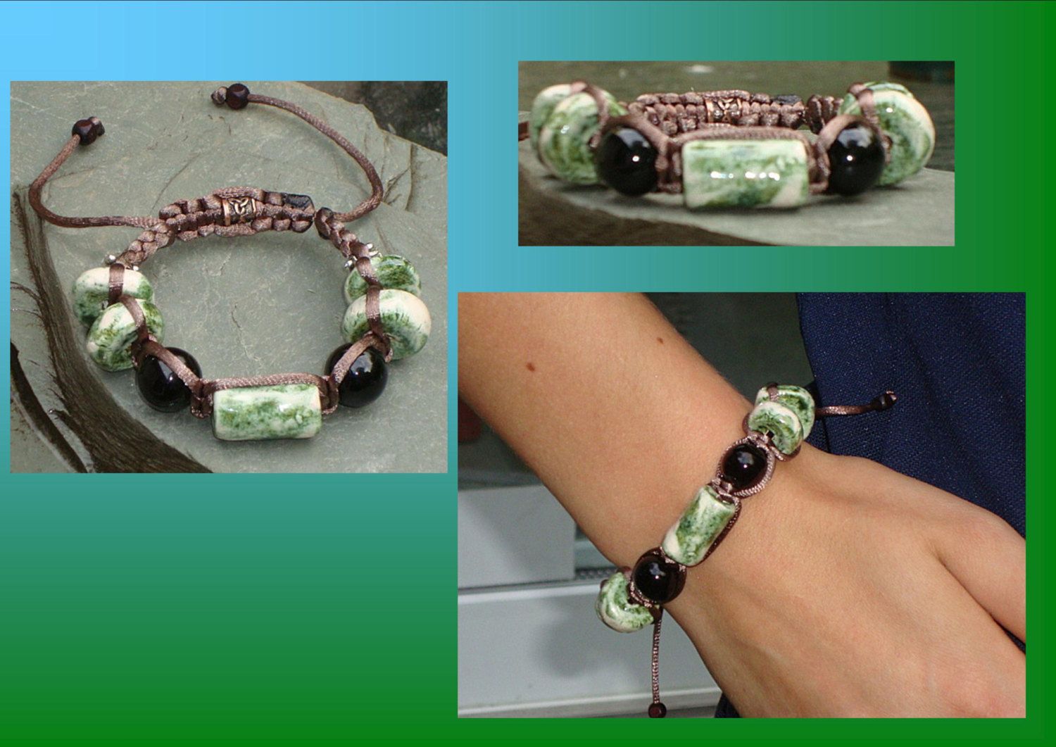 Mossy Green Black Onyx Bracelet Ceramic Beads Bali Tibetan Shamballa Beaded Woven Jewelry