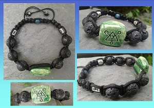 Green Bracelet Ceramic and Lava Bead Connect Symbol Adjustable Tibetan Jewelry