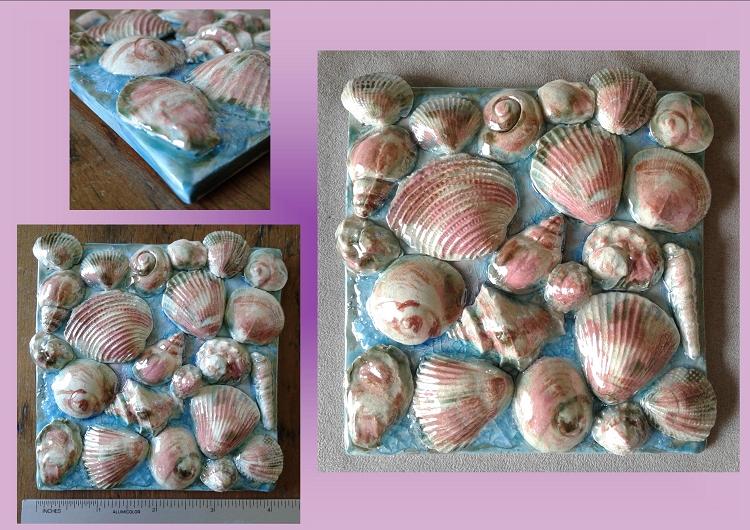 Seashells Ceramic Tile Decorative Ocean Turquoise Mother