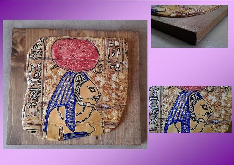 Egyptian Sekhmet Tile On Wood Plaque Warrior Goddess