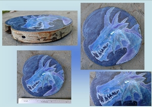 Mini Blue Ice Dragon Painting on Wood Original Watercolor Fantasy Winter Dragon Art