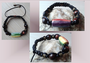 Men's Rainbow Bracelet Lgbt Ceramic Bead Chakra Gay Pride Red Tiger Eye