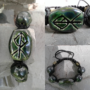 Chunky Warrior Rune Ceramic Bracelet Norse Runestone Futhark 7.2'' - 13'' ADJUSTABLE Green Pewter Viking