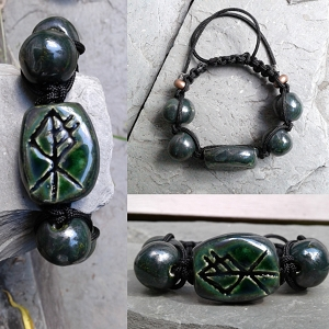 Chunky Wolf Rune Ceramic Bracelet Norse Runestone Green Pewter Viking Jewelry Futhark 6.5'' - 13'' ADJUSTABLE