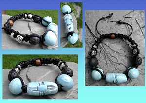 Zia Sun Bracelet Turquoise Ceramic with Lava Stones Native American Petroglyph Adjustable